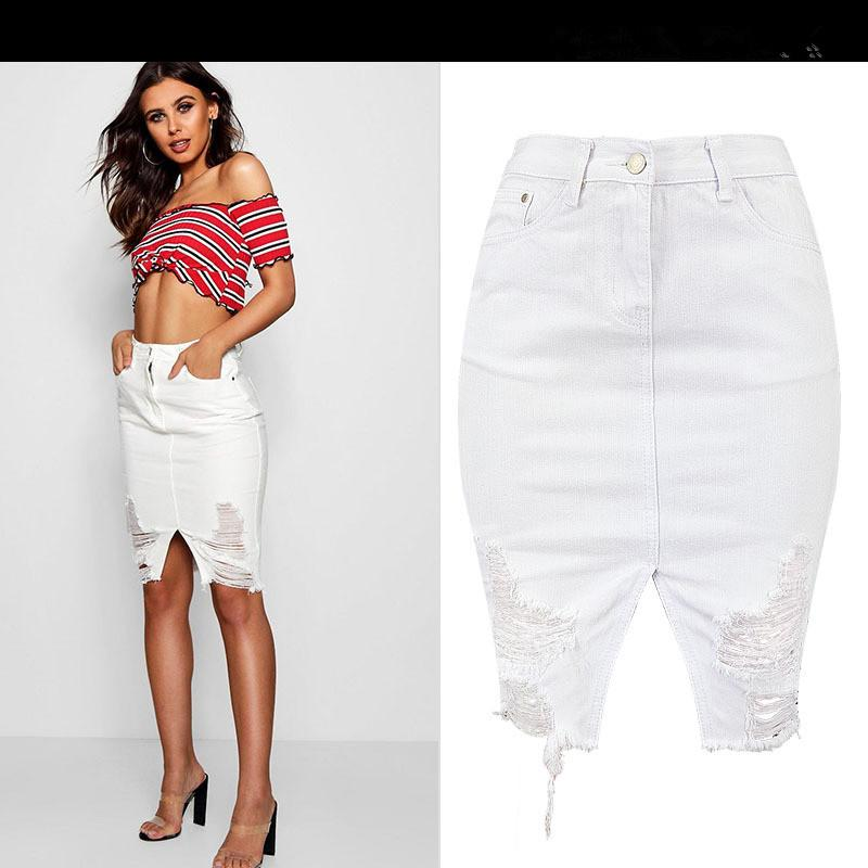 Ripped Hole White Denim Skirt Sexy Women High Waist Jean Pencil Skirt Girl  Bodycon Cute Streetwear UK 2019 From Vikey08 8e307216d0e7