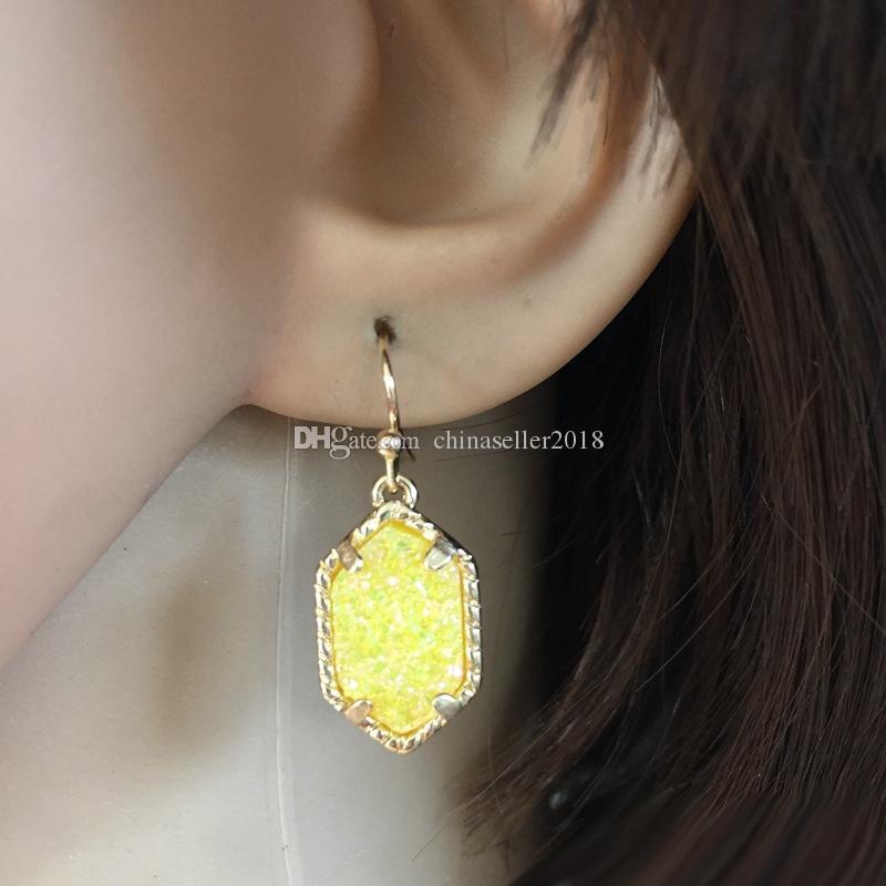 Marca de moda Druzy cuelga los pendientes de plata sobre oro geométrica piedra natural pendientes de gota para las mujeres de lujo accesorios de joyería
