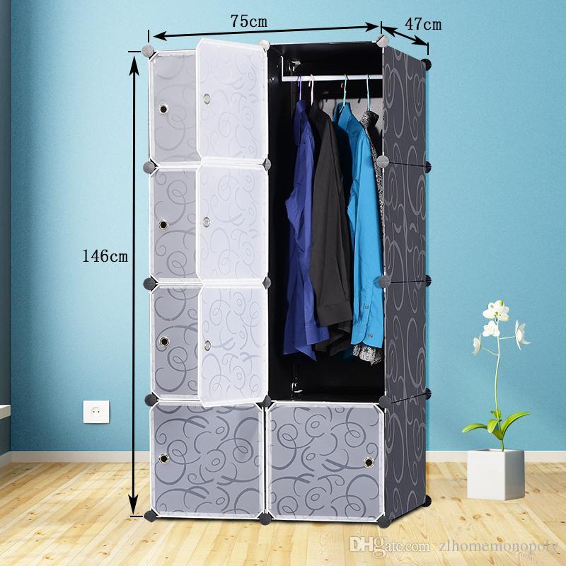 Kunststoff Kleiderschrank Schrank 12 Cube Ineinander Greifen Für Kleidung Transluzente Dekorative Muster Elegant Schwarz Weiß S15