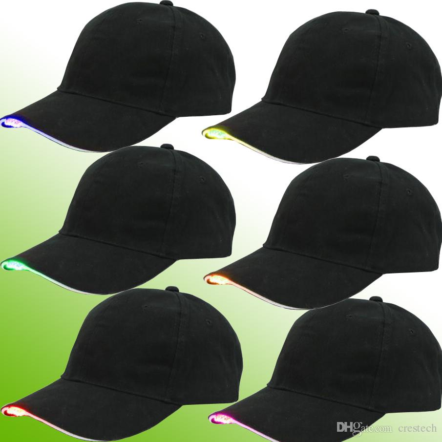 LED Baseball Caps Baumwolle Schwarz Glänzende LED Licht Ball Caps Glow In Dark Einstellbare Hysteresenhüte Leucht Partyhüte