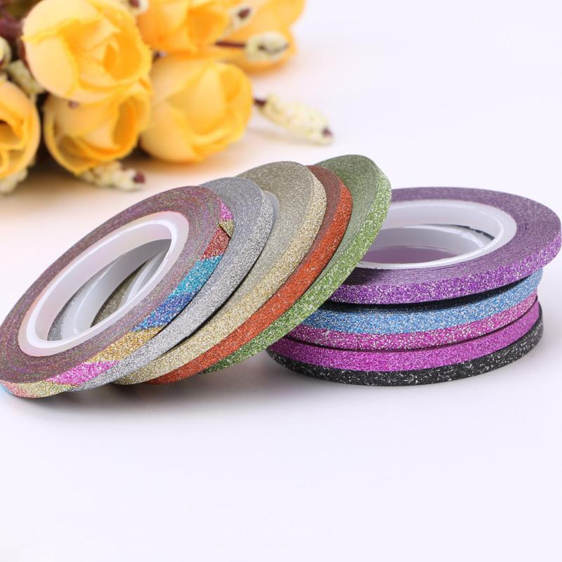 New Arrvail Plastic Glitter Nail Art Tape Line Strips Striping Decoration For UV Gel Polish Adhesive Sticker 1Rolls 3mm