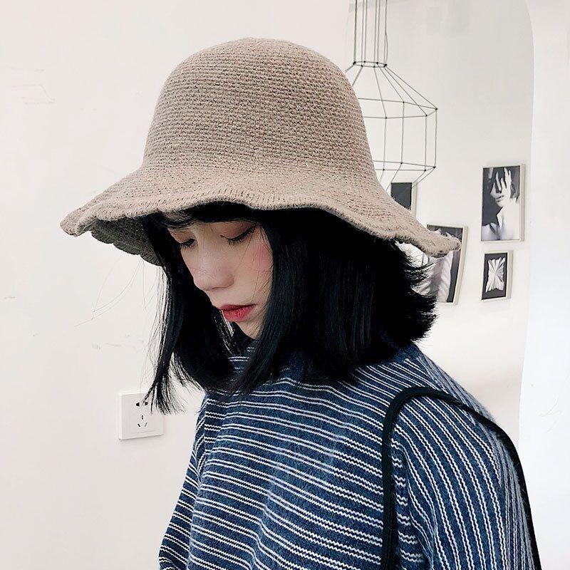 Knitted Fisherman S Hat Lady S Lace Basque Hat European And American Style  Foldable Japanese Style Solid Color Cap For Autumn And Winter Black Hats  Scala ... 264d0f972c7