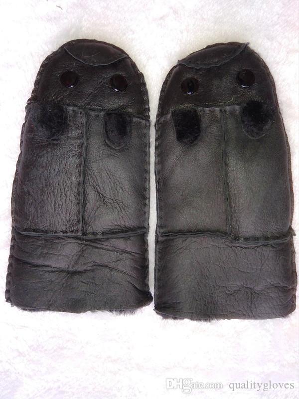 Envío gratis - 2018 Nuevos guantes de lana de invierno para niños Guantes de cuero caliente Anticongelante a prueba de viento