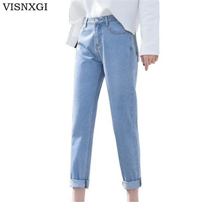 Taille Femmes Crayon Jeans 2018 Complet Pantalon Cowboy Haute Loose Visnxgi Plus Vintage New Slim htQrsd