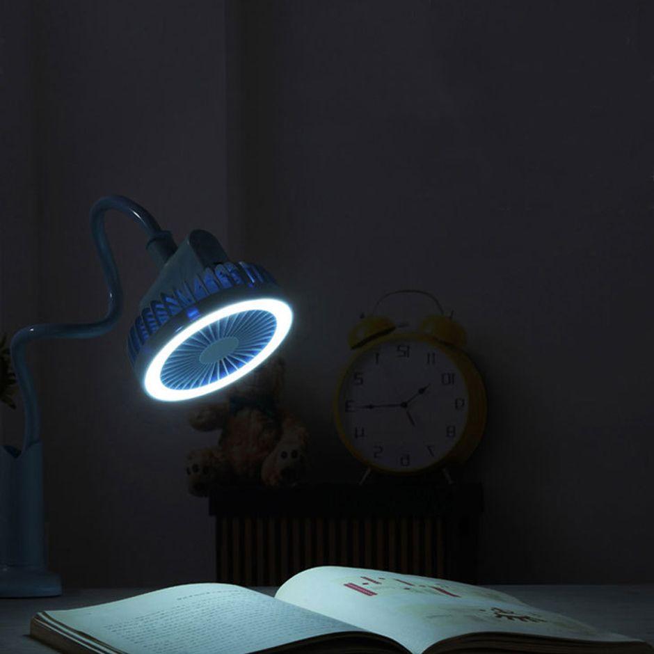 Ventilatore a LED portatile da tavolo, ventilatore a LED orientabile a 360 gradi, lampada da comodino da comodino USB ricaricabile.