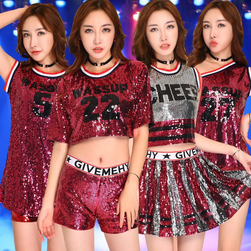 5389e3fd5412a Compre Disfraces De Baile De Jazz Lady Cheerleading Ropa Sexy Red Sequins  Discoteca Bar Dj Group Hip Hop Etapa Ropa Para Cantantes DN1532 A  43.59  Del ...
