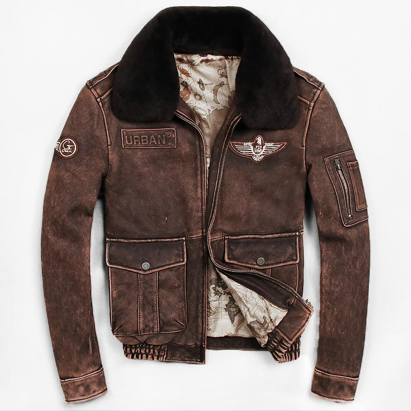 517dc5aa0d5 2019 2018 Vintage Brown Men Pilot Leather Jacket Wool Collar Genuine Thick  Cowhide Winter Russian Flight Leather Coat From Humanhair116, $406.09 |  DHgate.