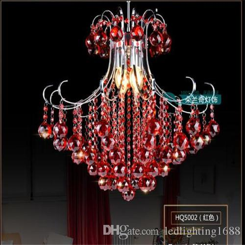 LED 40/50 cm K9 luzes de teto de cristal lustre Limpar roxo vermelho luminária de luxo Americano Incluindo lâmpadas LED luz branca Quente