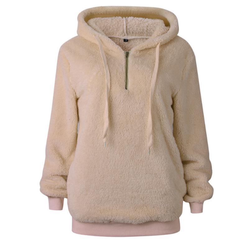 2019 Autumn Winter Hooded Sweatshirts Womens Long Sleeve Pullover Woollen  Sweatshirt Top Coats Casual Plus Size Warm Outwear WS9478U From Qinfeng03 de280a146