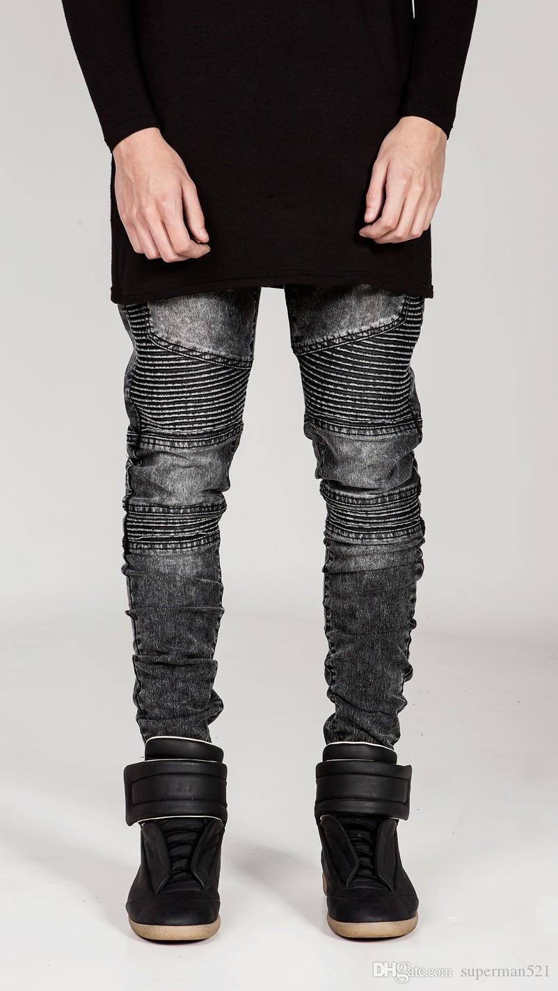1d0065fd2b6 Acquista Streetwear Uomo Strappato Biker Jeans Homme Moda Uomo Moto Slim Fit  Nero Bianco Blu Moto Pantaloni Jeans Jogging Uomo Magro A  21.11 Dal ...