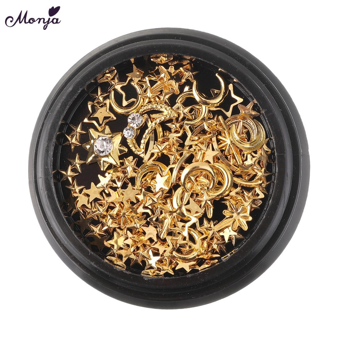 Monja 3 Type Nail Art Rhinestones Crystal Glass Gems Charms Gold Metal Rivet Studs Mixed 3D DIY Hollow Decoration Accessories