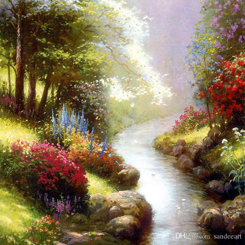 Thomas Kinkade Landscape Oil Painting Reproduction High Quality Giclee Print on Canvas Modern Wall Home Art Decoration for living room JH926