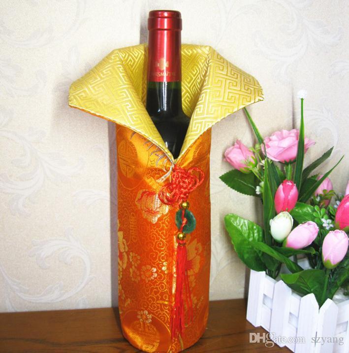 Hecho a mano chino seda botella de vino cubierta con nudo chino Año Nuevo Decoración del vector de la botella de la cubierta Bolsas SN1130