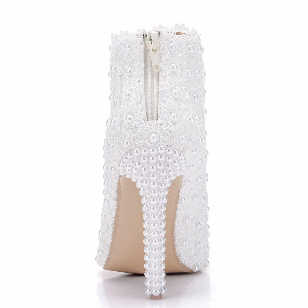 New pointed toe shoes for women elegant pearls heels wedding shoes thin heel fashion boots lace flowers Plus Size Bridal martin boots