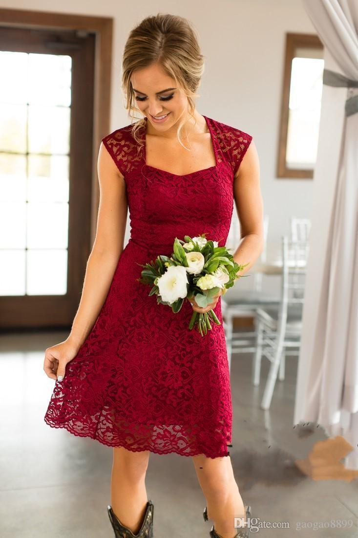 2018 Short Country Style Full Lace Bridesmaid Dresses Long Cap Sleeves Knee Length Maid of Honor Gowns Cheap Wedding Guest Dress