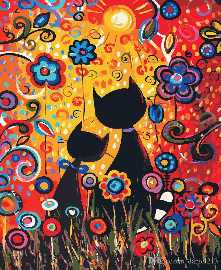 16x20 Diy Malen Nach Zahlen Kits Abstrakte Kunst Acryl ölgemälde Auf Leinwand Für Erwachsene Kinder Unframe Katzen Familie In Sun Blumen