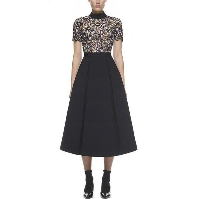 detailed look 1e4f3 fc1ff Kleid Frauen Sexy Guipure Spitze Rollkragen Vintage Kleider Tunika Kleider  Vestidos QWA1022-45