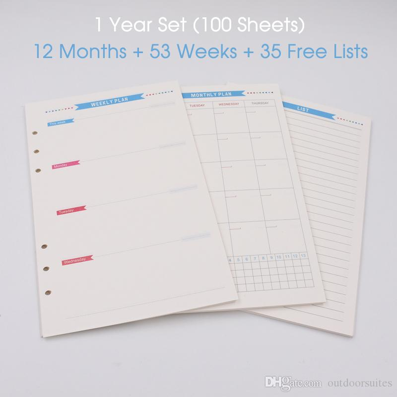 100 sheets/pack Color Spiral Notebook Insert Paper Weekly Planner 2018 Monthly Agenda Filler Refill Paper A5 A6 One Year Version