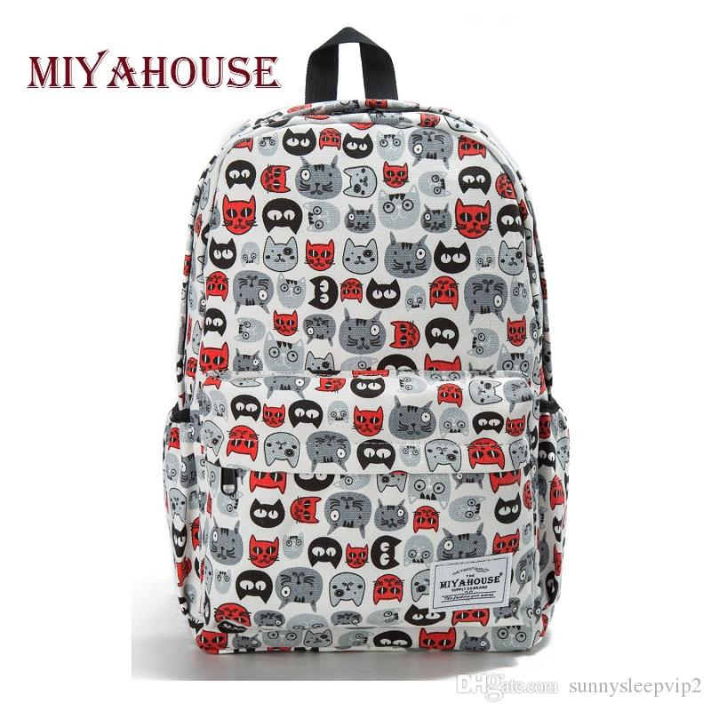 b8a7dff2feda Miyahouse Preppy Style Female Backpacks Cartoon Cats Print Bookbags Women  Travel Backpack Canvas School Bag For Girls Rucksack One Strap Backpack ...