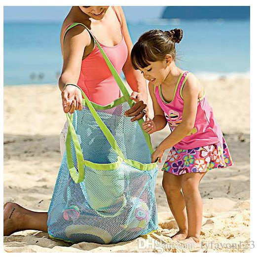 Storage Bag Folding Children Beach Toys Finishing Bag Baby Seaside Travel Network Bags Mesh Pouch Tote Shell Sand Organization a237