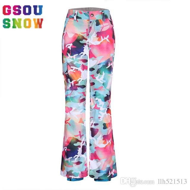 c001352032 2019 GSOU SNOW Waterproof Ski Pants Women Colorful Snowboard Pants Ladies  Camouflage Skiing Clothing Winter Windproof Skis Trousers From Llh521513
