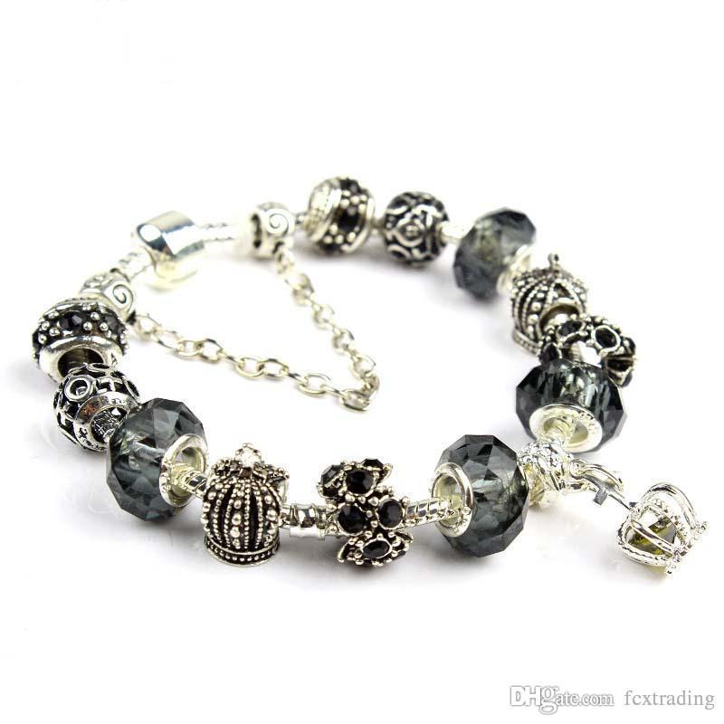 18 19 20 21 CM Charme Armband 925 Silber überzogene Pandor Armbänder Royal Crown Zubehör Lila Kristall Perle Diy Hochzeit Schmuck mit box