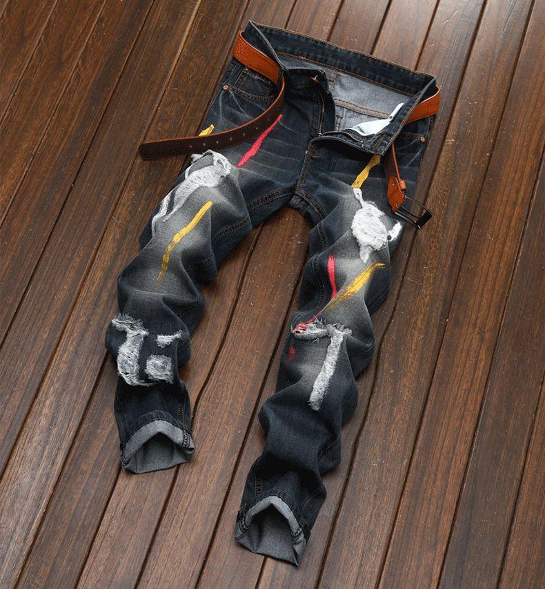 Outono Mens Casual Buraco Jeans Vintage Hetero Impressão de Luxo Calças Slim Algodão Sexy Hip Hop Lápis Calças Jeans Homens 28-42