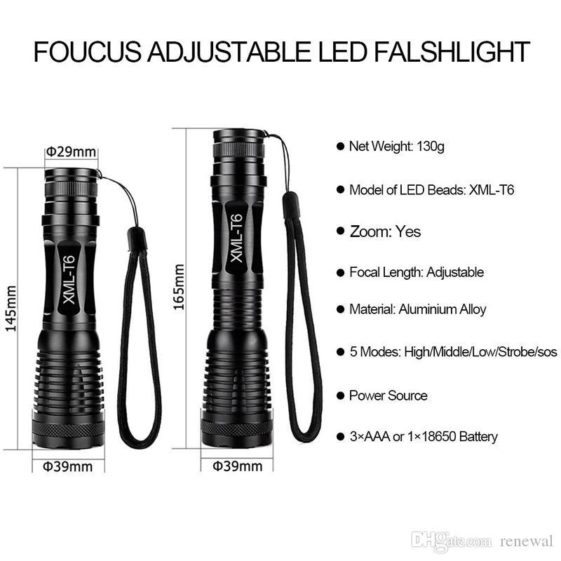 Фонарик CREE XML-T6 Фонарик 5000 Люмен Велосипедный свет 5 режимов Фонарик Масштабируемый светодиодный фонарик +18650 аккумулятор + зарядное устройство