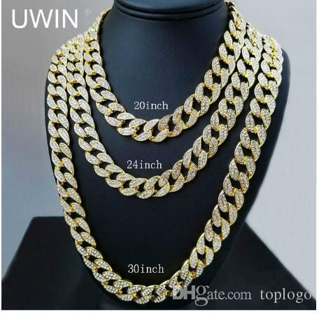 classic Full Diamond Cuban Necklace 18inch 20inch 24inch 30inch Bling Jewelry Necklace for Men Iced Out Miami Curb Cuban Link Chain