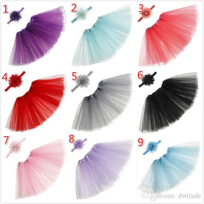 Infant Mädchen Tutu Rock Set mit Haarbändern Sommer Hübsches Neugeborenes Baby Mädchen Kleidung Party Fotografische Kleidung Prinzessin Kleider 15 Farben