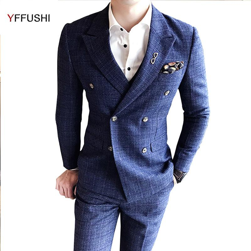 2019 Yffushi New Arrival Men Suit Navy Double Breasted Suits Wedding