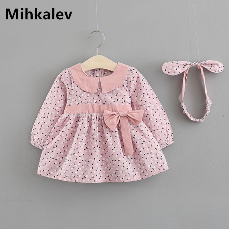 a57f1543e1e Acheter Mihkalev Mignon 1 An Fille Bébé Robe D anniversaire Pour Les Filles  De Bambin Arc Princesse Robes À Manches Longues Enfants Vêtements Enfants  ...