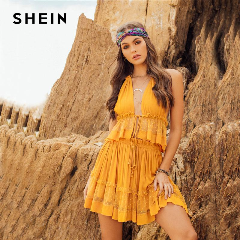 2019 SHEIN Dot Mesh Insert Crop Top   Frill Shorts Set 2018 Ginger Women  Spaghetti Strap V Neck Sleeveless Plain Sets From Baiqian 0bf889154d10