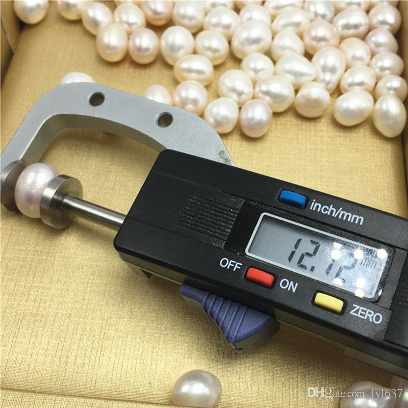Zucht-Süßwasser-Perlen Teardrop-Weiß 12-15MM große Perle mit kleinem Fehler DIY Schmucksache-Zusatz-losem Korn-Großverkauf-freiem Verschiffen