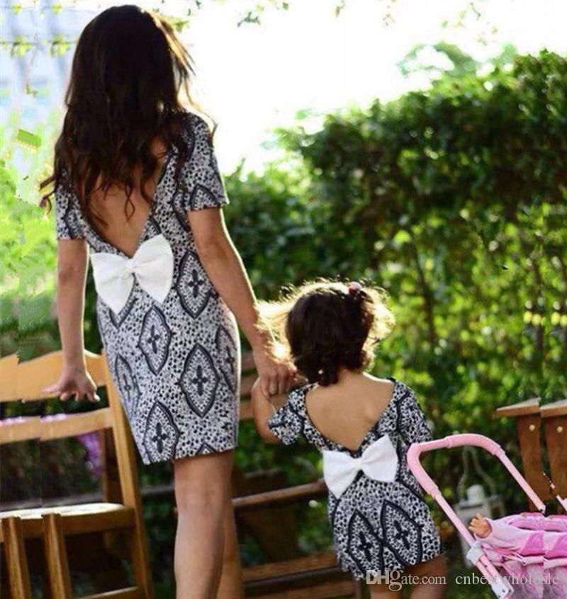 4b33b5c5e52a 2019 2018 Family Matching Clothing Mother And Daughter Printed ...