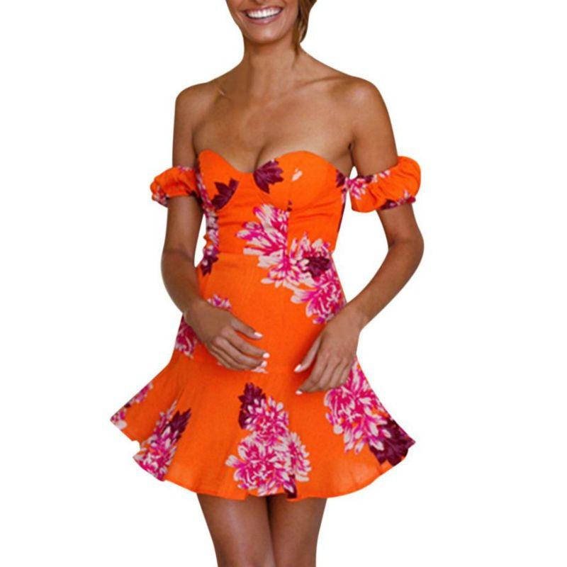 d657e4ae0 Compre 2019 Mujeres Sexy Vestido De Hombro Manga Corta Impresa Cremallera  Con Cordones Tanga Mini Vestido Del Vendaje Mujeres Vestidos Robe Femme A   24.53 ...