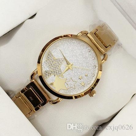 6667daec68ed8 Compre 2018 Novo Estilo De Moda Mulheres Relógio Com Mostrador Estrela Lady  Watch Subiu De Ouro De Diamante Pulseira De Aço Relógio De Luxo De Alta ...