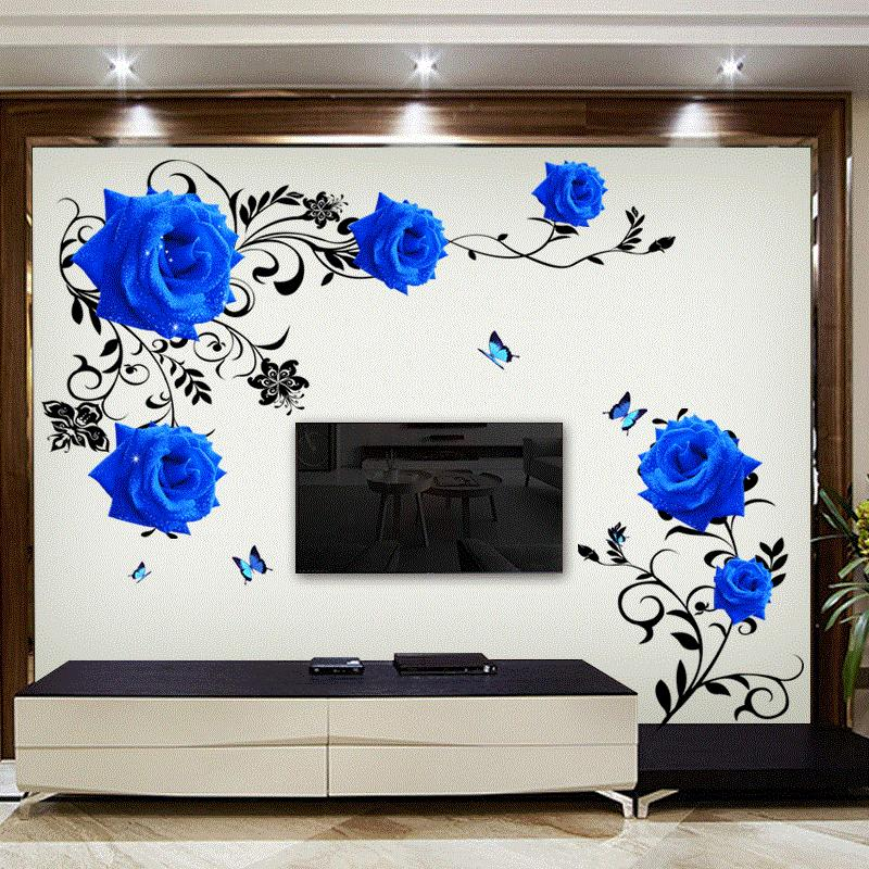 large blue rose flowers sofa/tv background wall sticker home