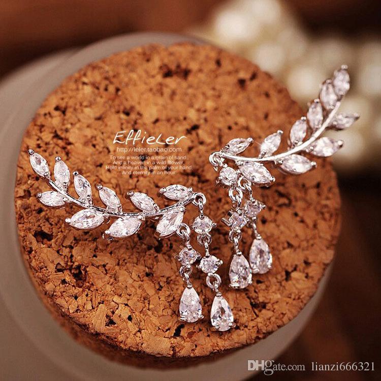 Hot Nieuwe Mode Mooie Nieuwe Sweet Flash Diamond Populaire Blad Bladeren Tassel Crystal Drops Earring Gratis verzending HJ179