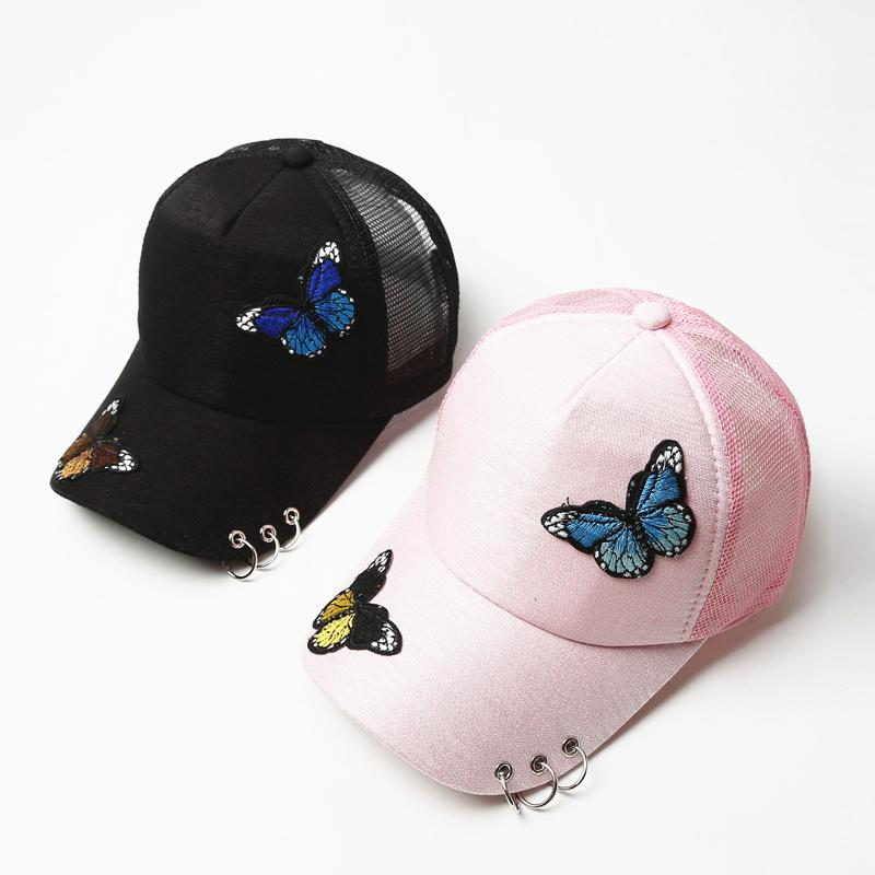 Ms. Summer Two Butterfly Cap Embroidery Patch Baseball Caps Shade Sunscreen  Duck Tongue Net Hat Adjustable For Women Girls Hats Cap Hat Flat Caps For  Men ... a4b4a9e5159
