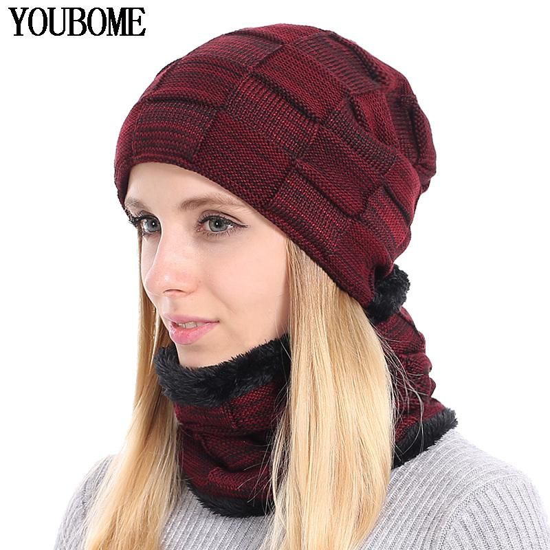 dc5e18004f9a4 YOUBOME Knitted Hat Scarf Winter Skullies Beanies Female Winter Hats For  Women Men Baggy Ring Warm Thicken Fashion Cap Hats 2018 S1020 Baby Sun Hat  Knit Hat ...