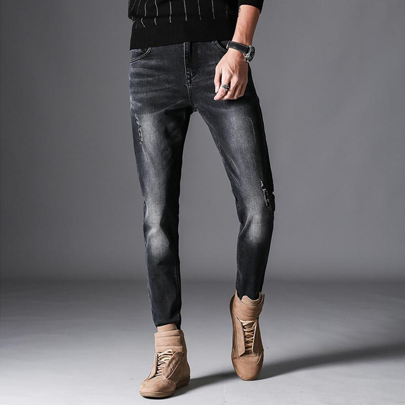 Desgastados Los Fit Elástico Ajustados De Algodón Compre Mezclilla Pantalones Slim Ocasional Vaqueros Negros Jean Hombre Hombres wAFaa8qZ