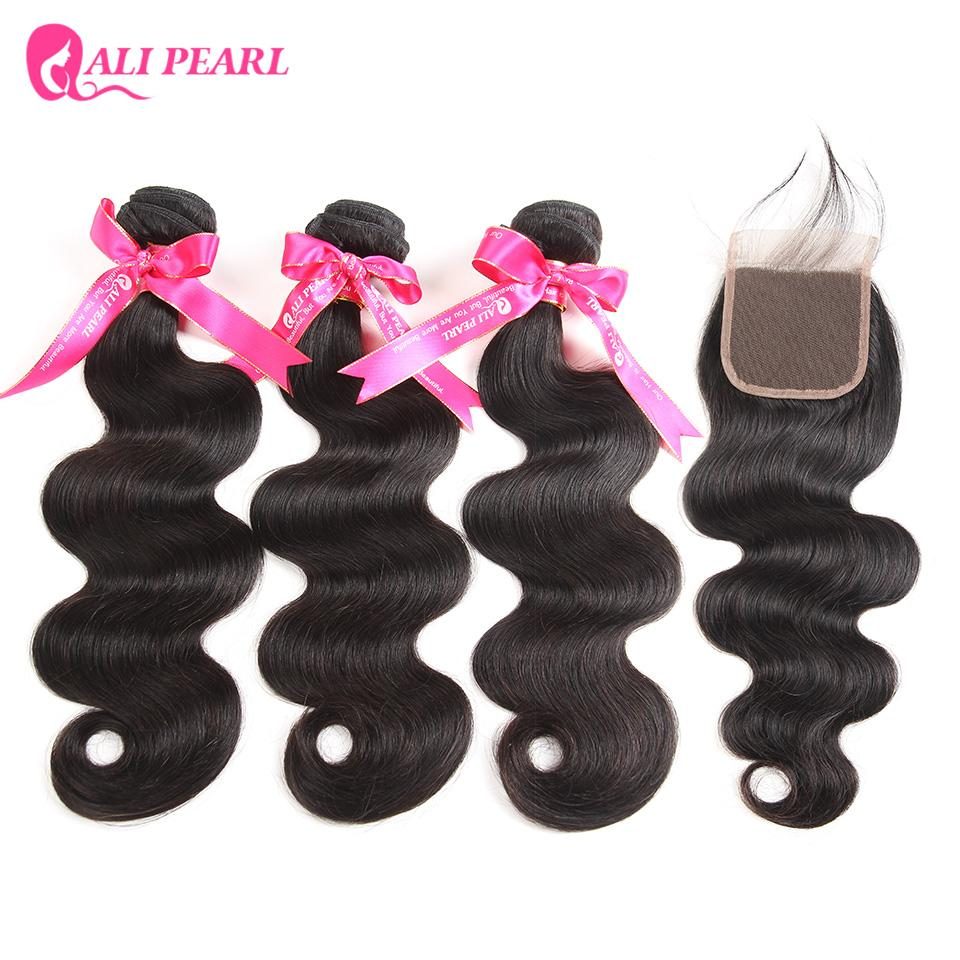 3/4 Bundles With Closure Hair Extensions & Wigs Alipearl Hair 100% Human Hair Water Wave Bundles With Closure Peruvian Hair Weave 3 Bundles Natural Color Remy Hair Extension Less Expensive