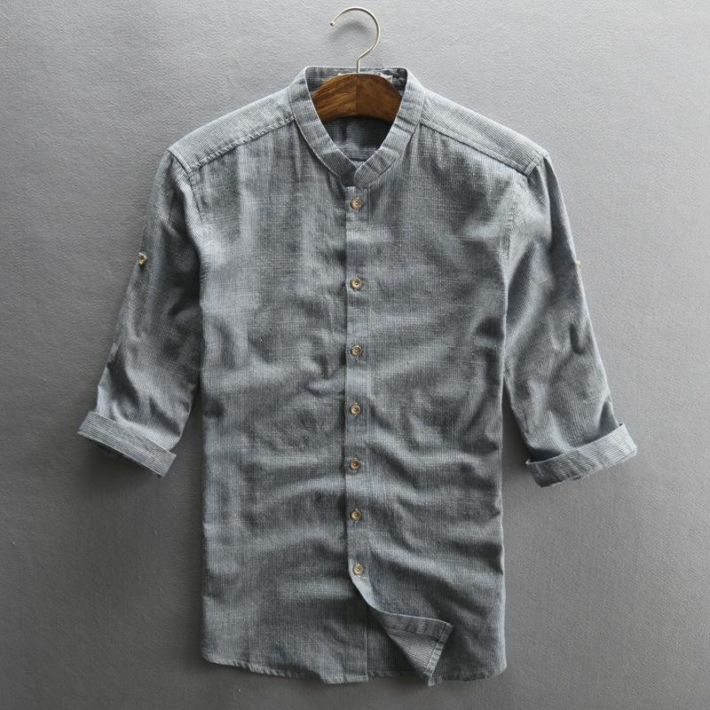 317eb463 2019 2018 Mens Half Sleeve Casual Shirts Cotton Linen Material Cool Short Sleeved  Shirt Slim Fitted Flax Clothing Chemise Homme From Vikey10, ...