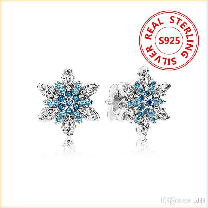 c2637834a6e9 2019 Authentic 925 Sterling Silver Blue Snow CZ Diamond Stud EARRING Logo  Original Box For Pandora Womens Earring From Id88