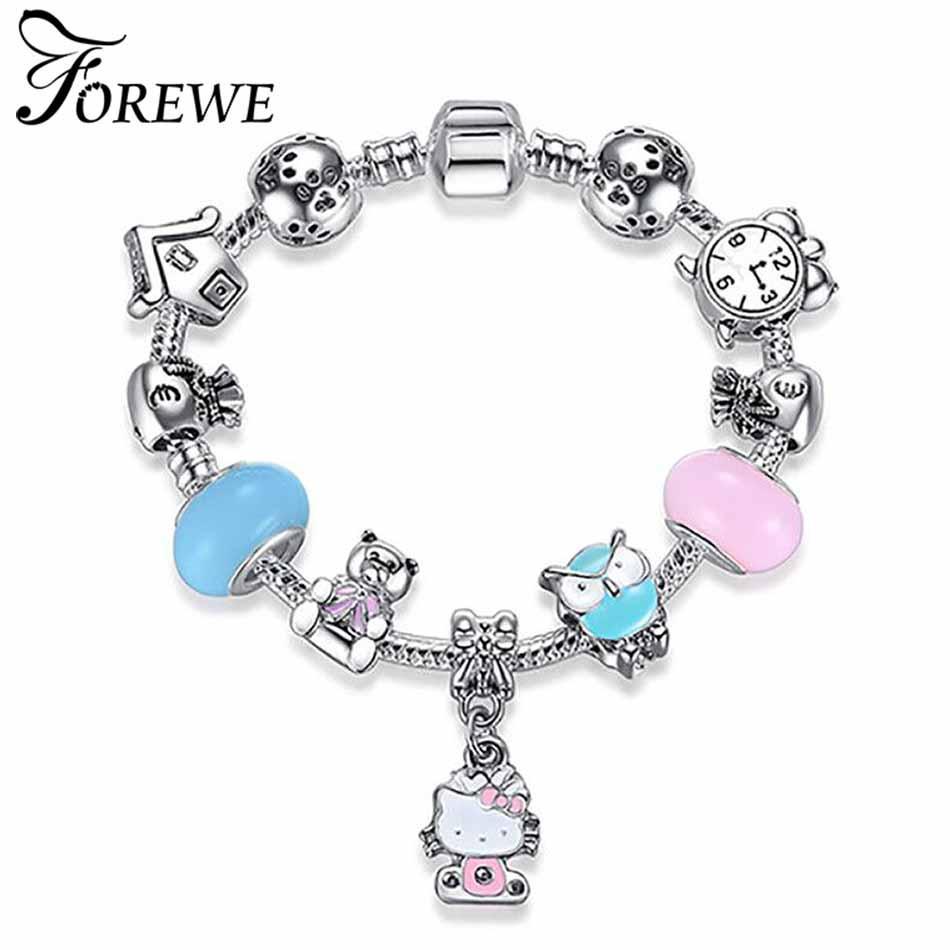 FOREWE Cute Cat Cat Hello Kitty Bracciale Donna Kids Girls Pink Smalto Crystal Beads Charm bracciali braccialetti Gioielli