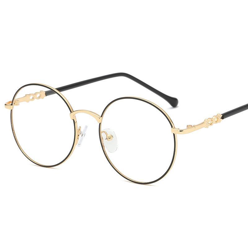 d59e348b76 2018 New Designer Donna Occhiali Montature da vista Occhiali da vista  rotondi in metallo Lenti trasparenti Eyeware Nero Sier Gold Eye Glass FML