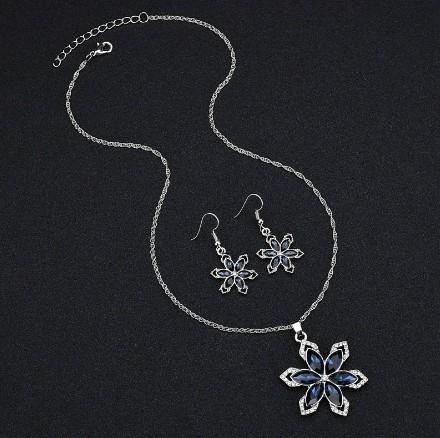 Bling Crystal Bridal Jewelry Sets Gift Idea For Gathering Fashion Party Necklace Earring Sets Flower Jewelry Sets