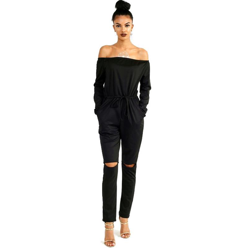 Autumn 2018 Off Shoulder Long Sleeve Women Sexy Jumpsuit Hollow Out Gray Black Harem Jumpsuit Long Romper Casual Slim Playsuit