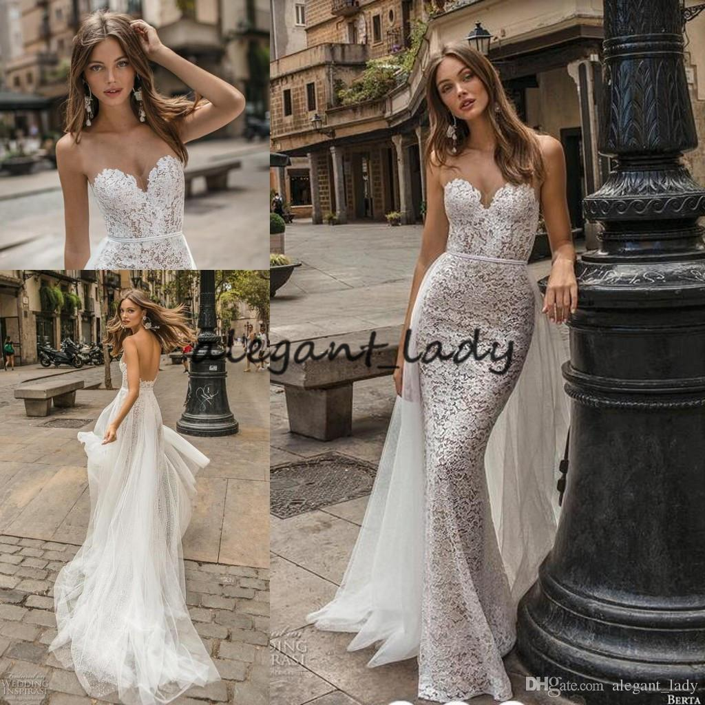 2019 Berta Mermaid Wedding Dresses with Detachable Train Modest Sweetheart Full length Trumpet Garden Church Wedding Gown